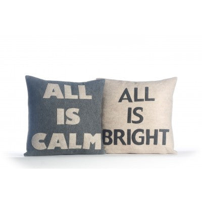 """All Is Calm"" and ""All Is Bright"" Pillows - Set/2 16"" X 16"""