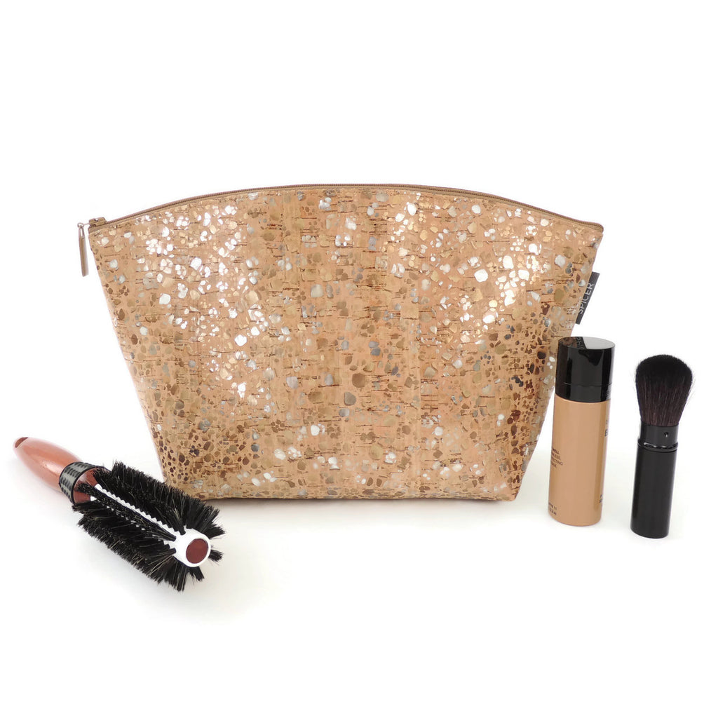 Spicer Bags Large Standing Pouch In Metallic Pebble Cork White Stading Pouce