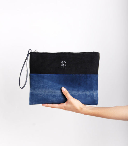 Blue Tie Dye Traveler's Clutch