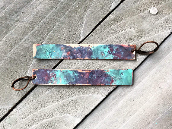 Copper Watercolor Dangle Bar Earrings