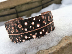 Copper cuff bracelet w/ holes