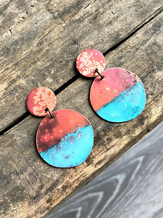 Copper Patina Dipped Drop Earrings
