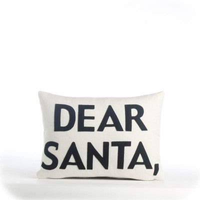 """Dear Santa"" Pillow -10"" X 14"" Cream & Black"