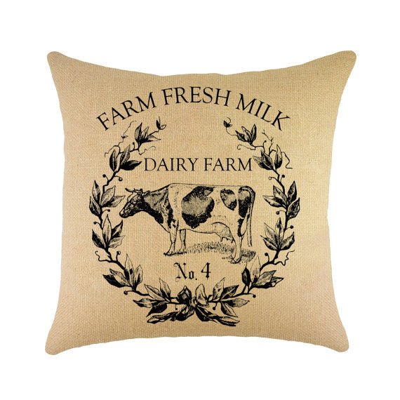 """Fresh Milk"" Burlap Throw Pillow - 16"" X 16"""