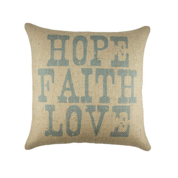 Hope Faith Love Burlap Pillow