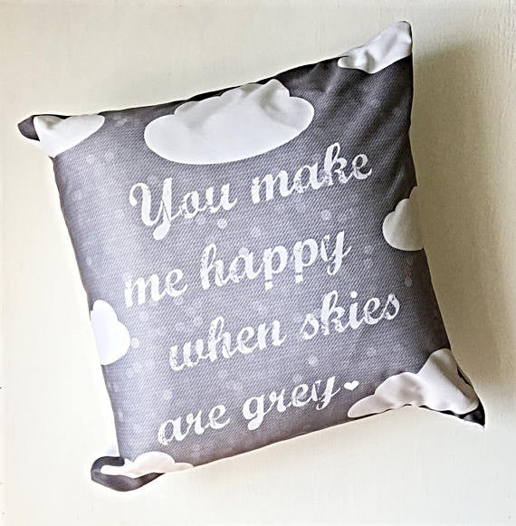 You Make Me Happy Cotton Throw Pillow