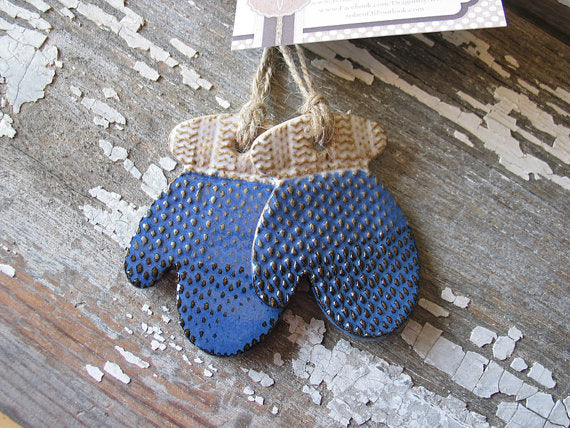 Blue Pottery Mittens Ornament