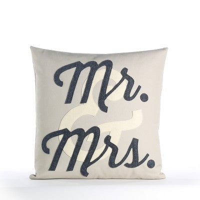 """Mr. & Mrs."" Pillow - 16"" X 16"" Stone, Antique White, and Charcoal"