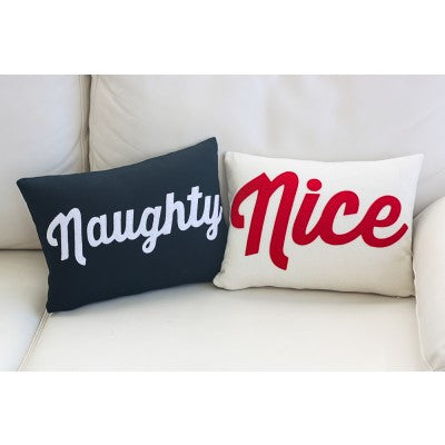 """Naughty"" and ""Nice"" Pillows - Set/2 10"" X 14"" in Red & Blue"