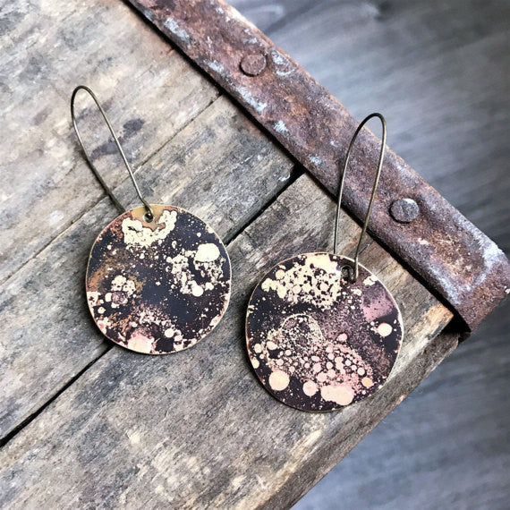 Brass Dangle Earrings- rose gold blackened flame patina