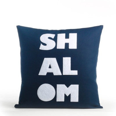 """Shalom"" Pillow -16"" X 16"" Navy & White"