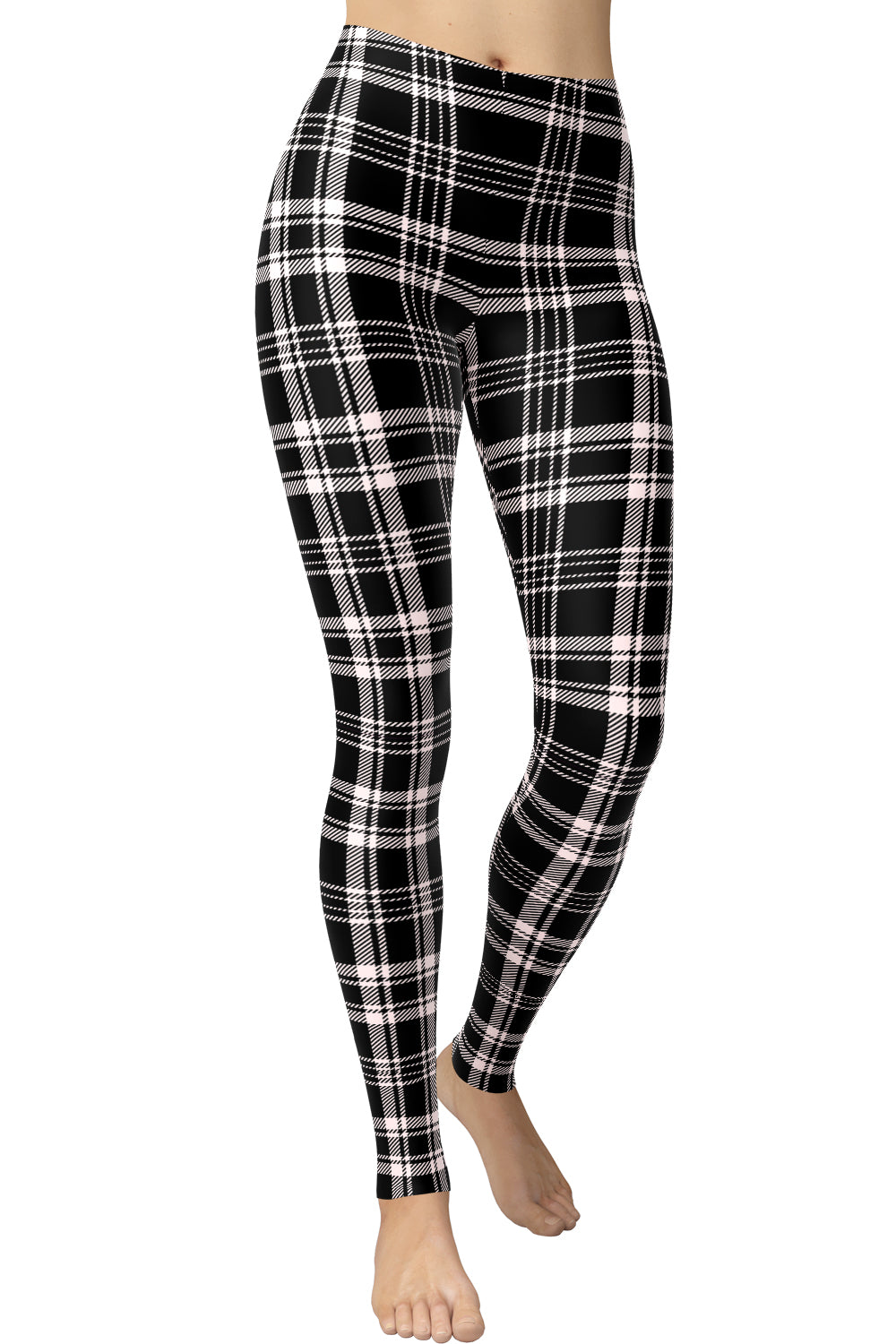 Printed Brushed Leggings - Plaid Dark Road Lanes