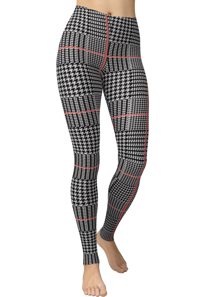 Printed Brushed Leggings - Plaid Thin Red Hounds