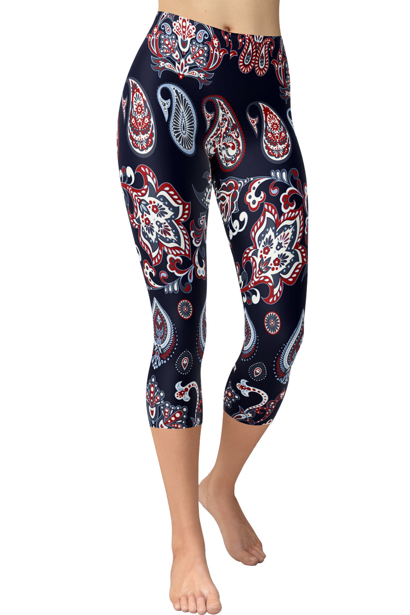 Printed Capris Leggings - Paisley Tears
