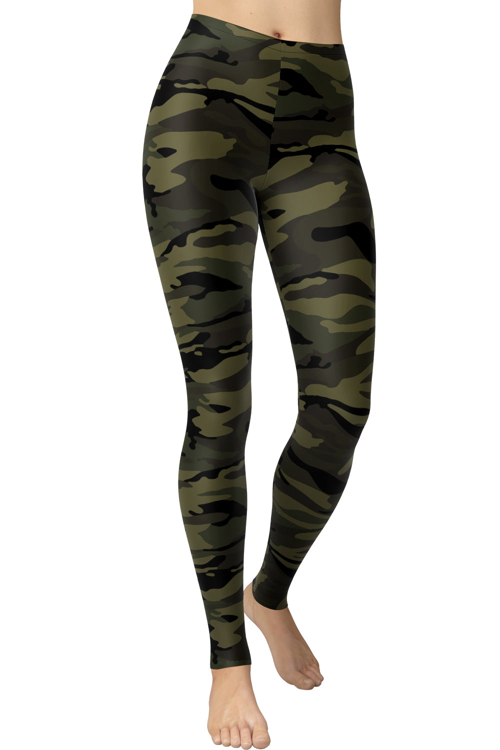 Printed Brushed Leggings - Green Army Camouflage