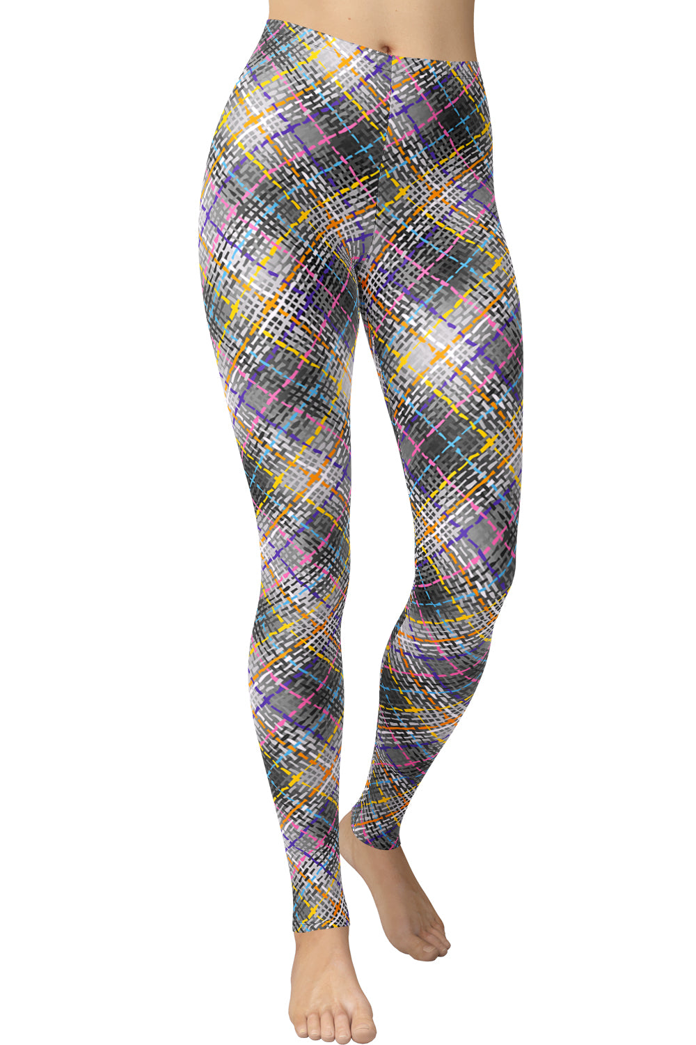 Printed Brushed Leggings - Dotted Lines Houndstooth (Digital Print)
