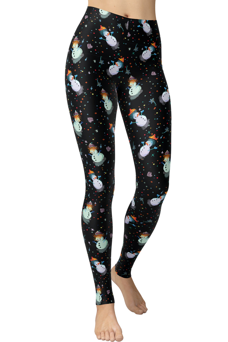 Printed Brushed Leggings (Digital Print) - Build A Snowman