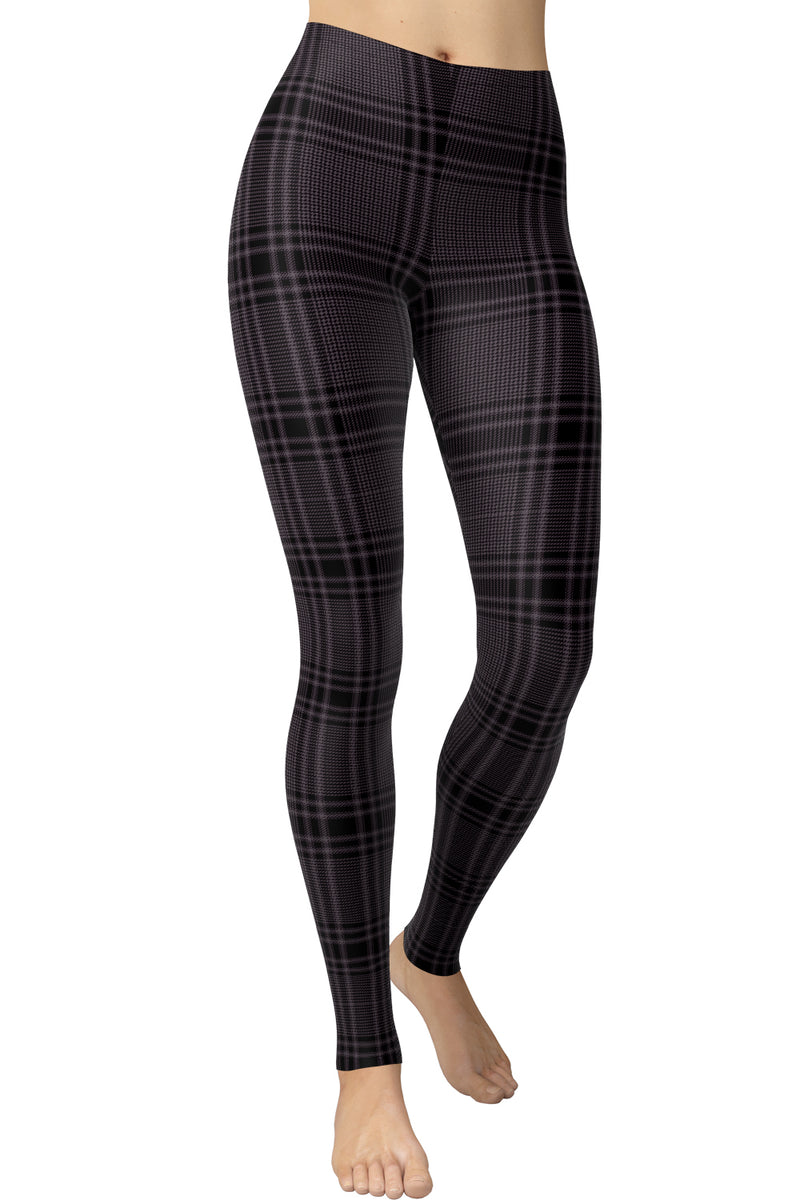 Printed Brushed Leggings - Black Tiny Houndstooth