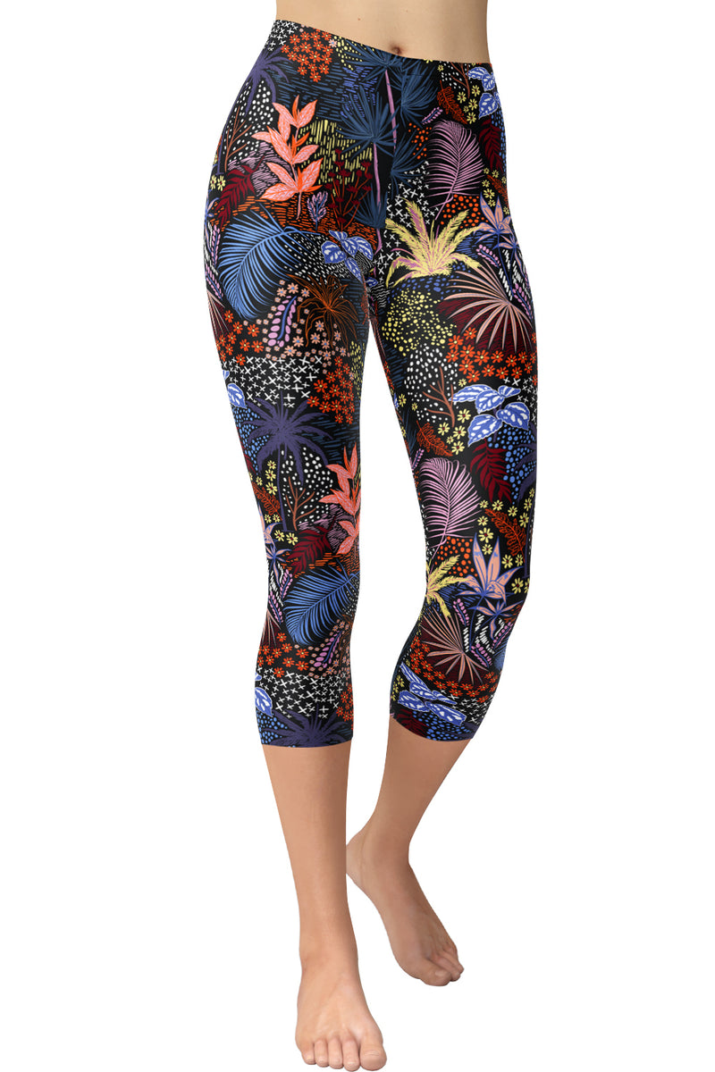 Printed Capris Leggings (Digital Print) - Midnight Jungle
