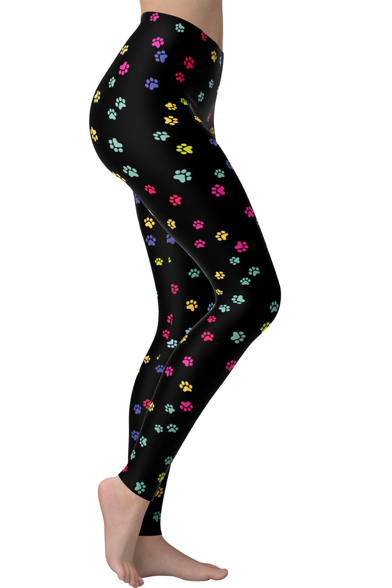Printed Brushed Leggings - Paws (Digital Print)