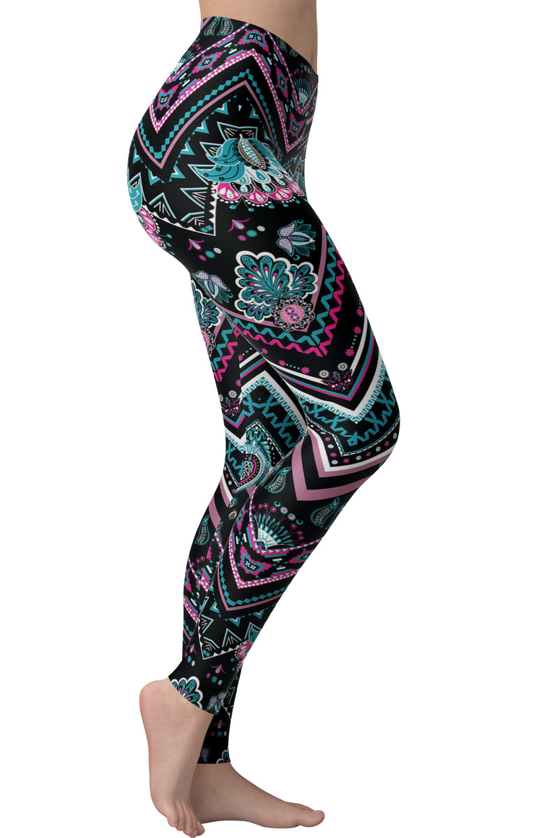 Printed Brushed Leggings - Chevron Pinkstromite