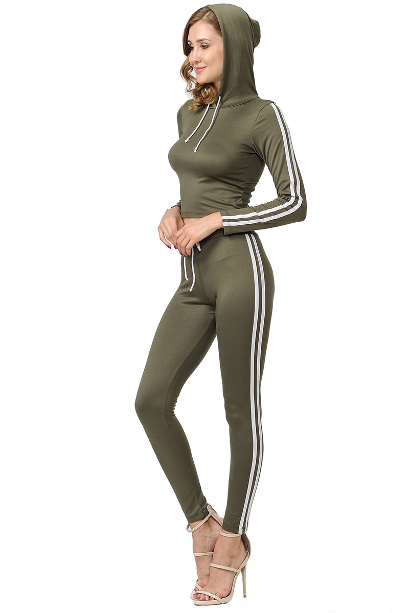 2 Piece Outfit Stripe Sports Tracksuit Long Pants & Hoodie with Drawstring