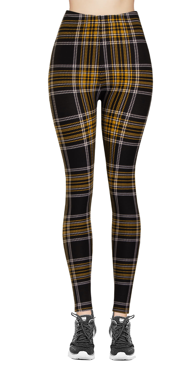 Printed Brushed Leggings - Plaid Road Lanes