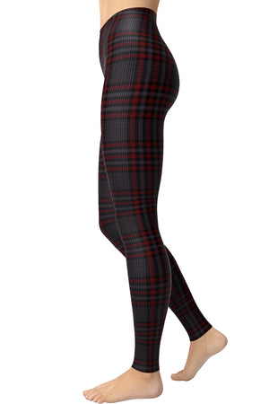 Printed Brushed Leggings - Plaid Thick Red Hounds