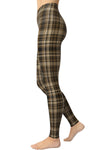 Printed Brushed Leggings - Brownish Plaid (Digital Print)