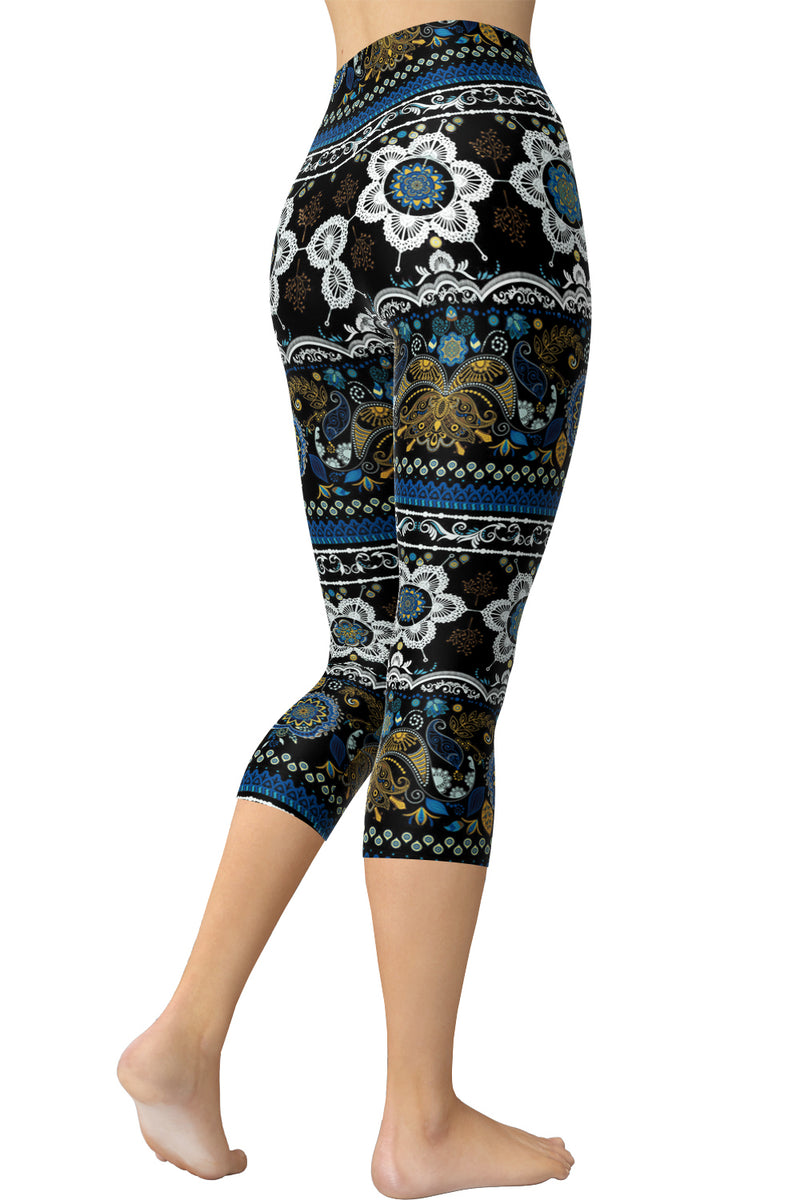 Printed Capris Leggings - Sunflower Symmetry