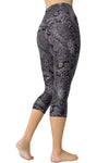 Printed Capris Leggings - Gray Timeless Paisley