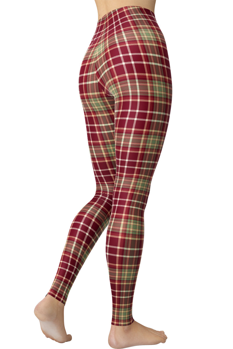 Printed Brushed Leggings - Pinky Plaid (Digital Print)