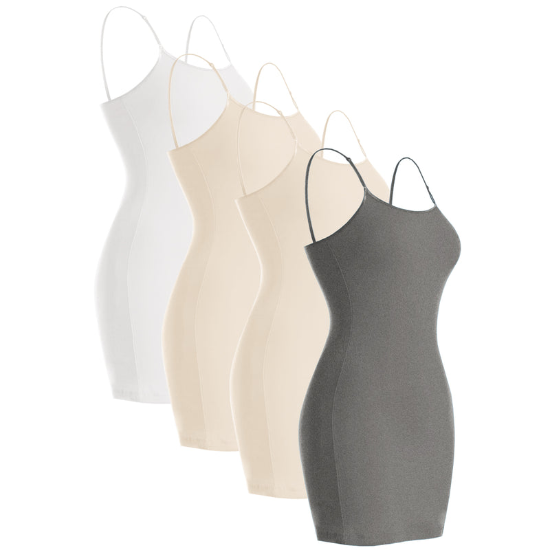 Plain Basic Cami Cotton Tank Top 4-Pack - Many Colors