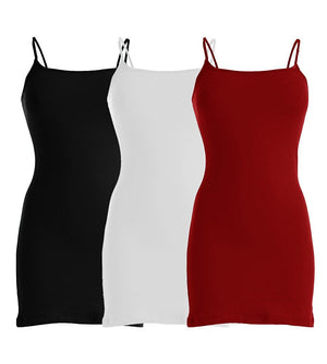 Plain Basic Cami Cotton Tank Top 3-Pack (Black/White/Red) - VIV Collection