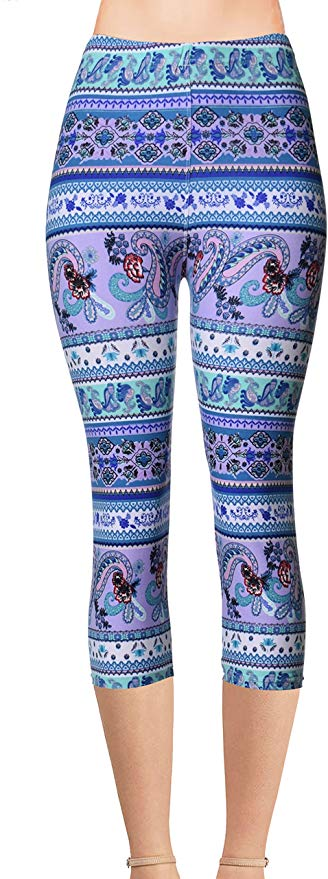 Printed Capris Leggings - Sweeping Paisley