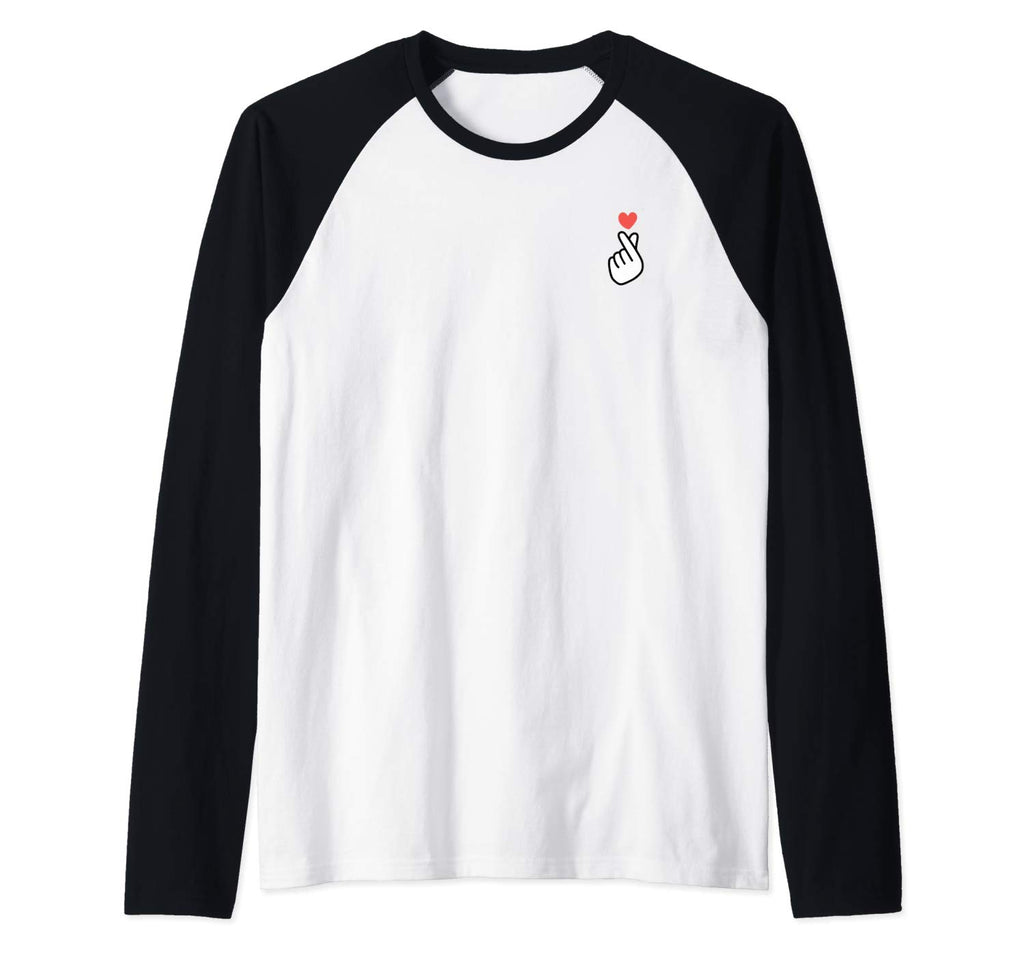 Korean K-POP I Love You Saranghae Hand Heart Symbol Raglan Baseball Tee (NOT SOLD OUT - AVAILABLE ON AMAZON)