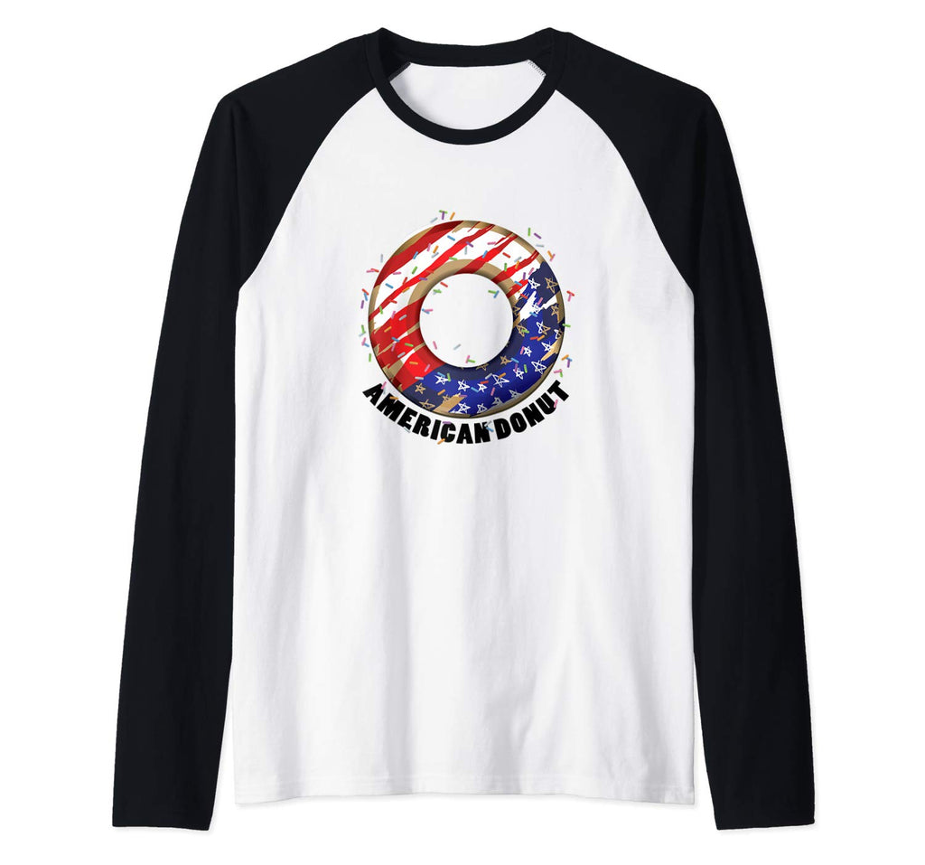 American Donuts July 4th Independence Day Raglan Baseball Tee (NOT SOLD OUT - AVAILABLE ON AMAZON)