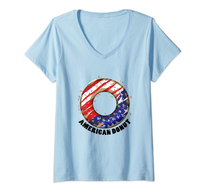 American Donuts July 4th Independence Day V-Neck T-Shirt (NOT SOLD OUT - AVAILABLE ON AMAZON)