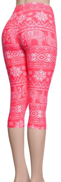 Printed Capris Leggings - Bohemian Bubble Gum