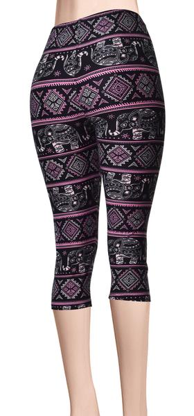 Printed Capris Leggings - Black Pink Elephant March