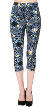 Printed Capris Leggings - Blizzard Bloom