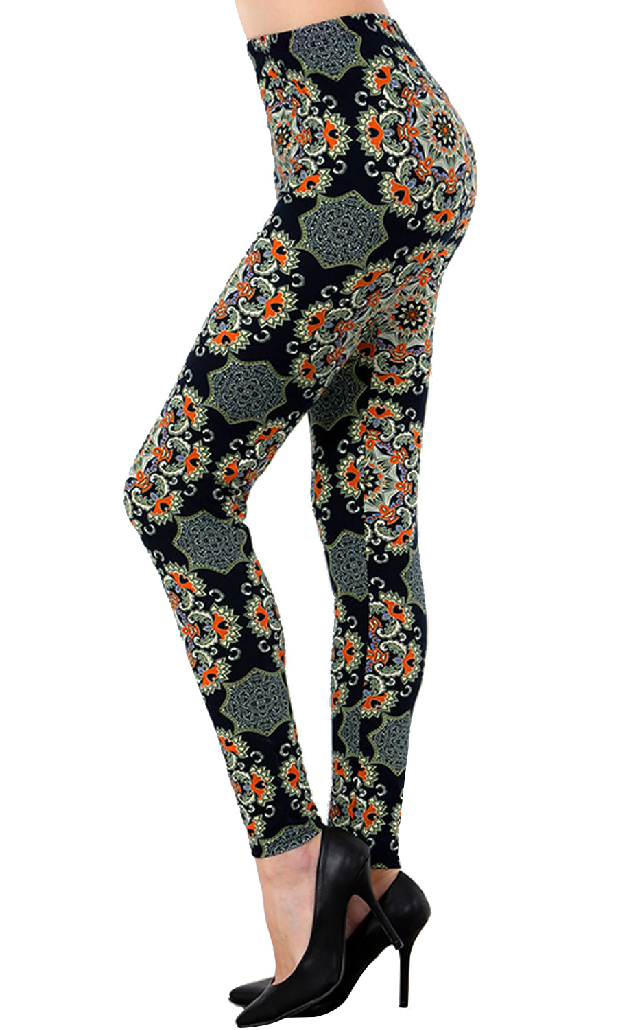 Printed Brushed Leggings - Floral Webs