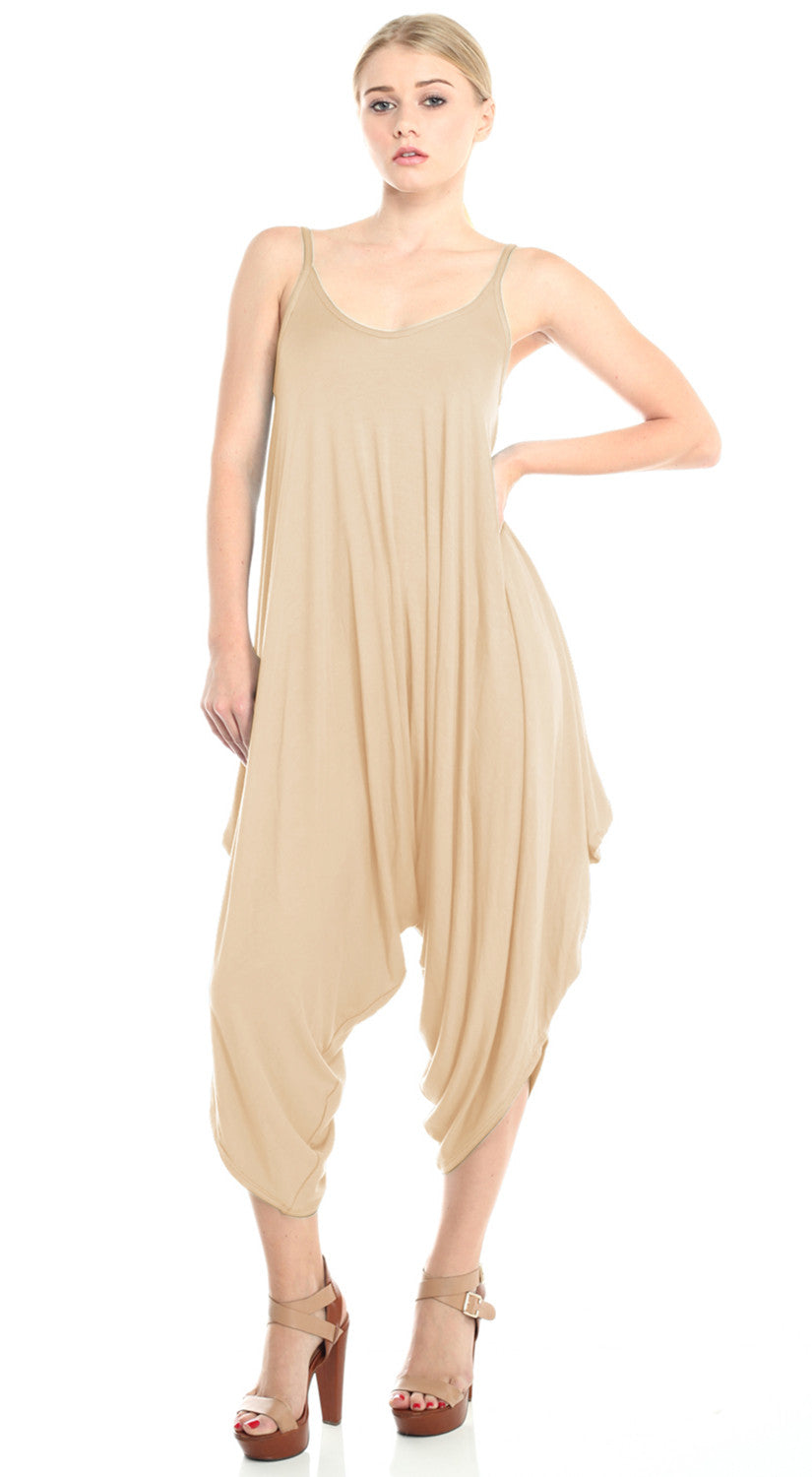 Solid Spaghetti Strap Harem Jumper - Taupe S2