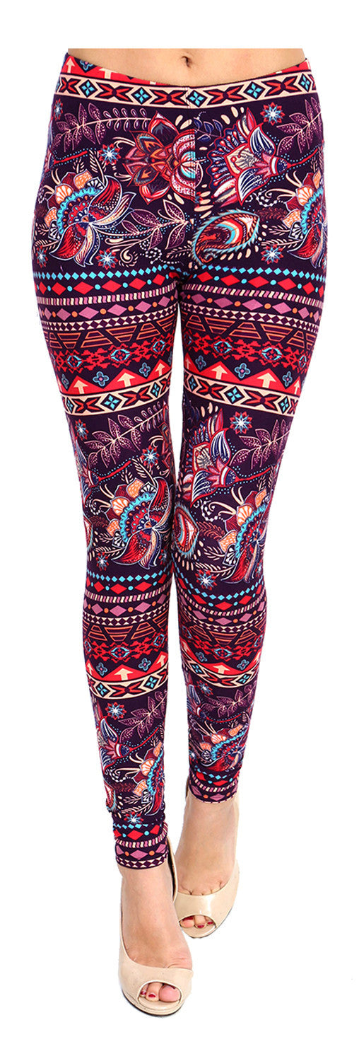 Printed Brushed Leggings - Flower Showroom - VIV Collection