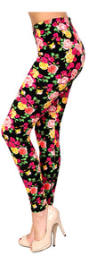 Printed Brushed Leggings - Pink Yellow Fuchsia Rose - VIV Collection