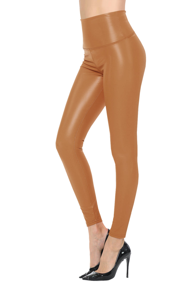 Womens Sexy Tight Fit Faux Leather High Waisted Leggings