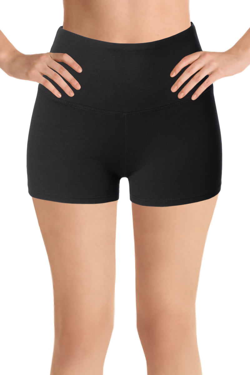 "Biker Yoga Shorts 2"", 8"", 12"" Inseam Wide Elasticized High Waistband"