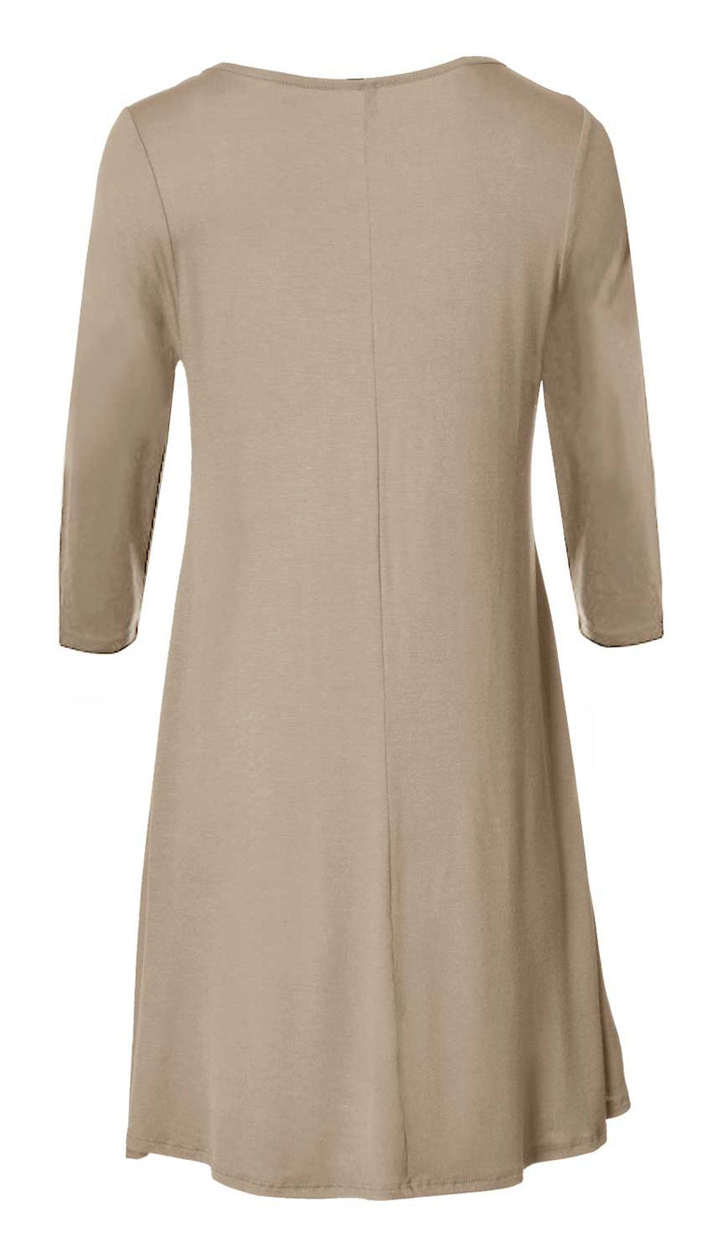 3/4 Sleeve Flare Hem Tunic Top