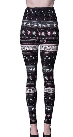 Printed Brushed Leggings - Polka Snow