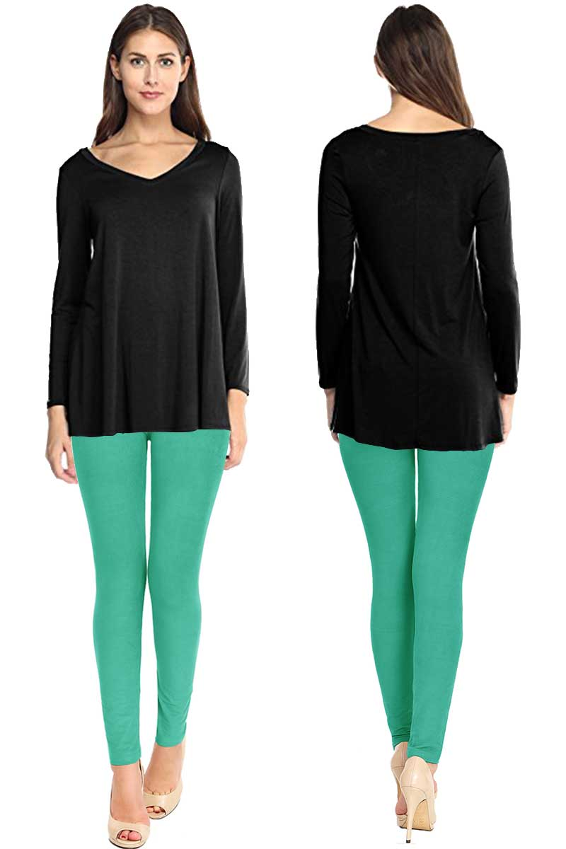 Solid Brushed Leggings VP103-Dark Mint (Full Length)